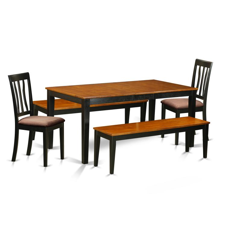 East West Furniture NIAN5N-BCH-C 5 Pc Dining room set with bench-Kitchen Tables and 2 Dining Chairs Plus 2 bench