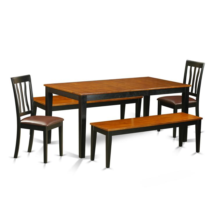 East West Furniture NIAN5N-BCH-LC 5 Pc Dining room set with bench-Kitchen Tables and 2 Dining Faux Leather Seat Chairs Plus 2 bench