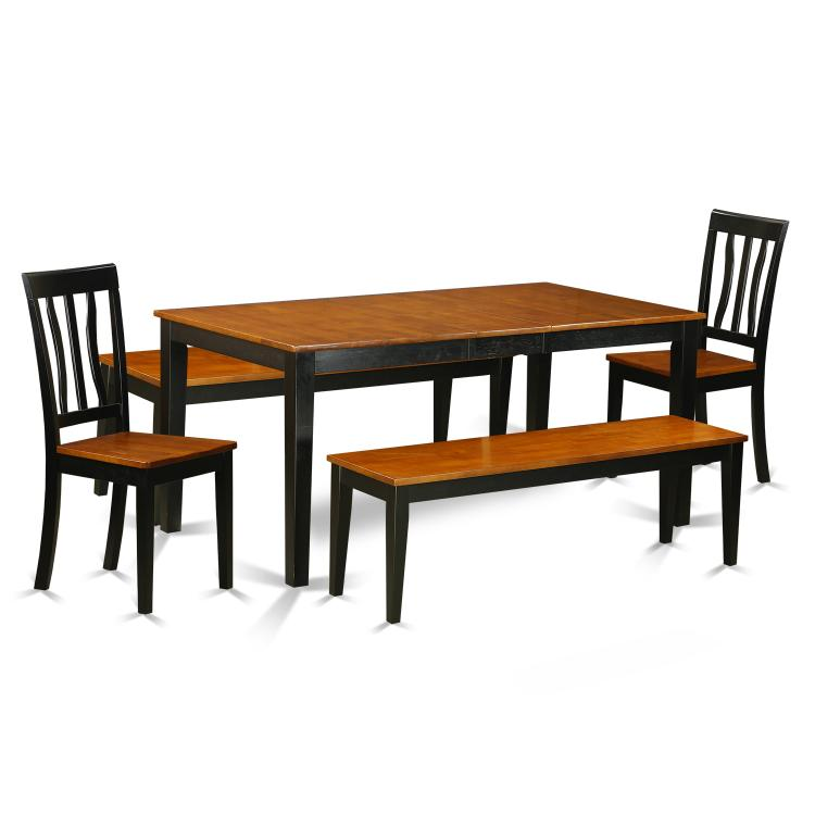 East West Furniture NIAN5N-BCH-W 5 Pc Dining room set with bench-Kitchen Tables and 2 Dining  Wood Seat Chairs Plus 2 bench