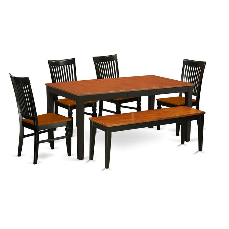 East West Furniture NIWE6-BCH-W 6 Pc Kitchen table set with a Dining Table  and 4 Wood Seat Dining Chairs plus one bench in Black and Cherry, Wood ...