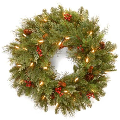 National Tree Noelle Wreath with Battery Operated Warm White LED Lights