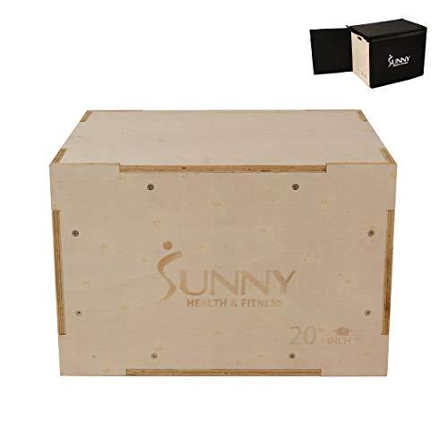 Sunny Health & Fitness Wood Plyo Box with Removable Foam Cover, 500lb Weight Capacity and 3 in 1 Height Adjustment - 30