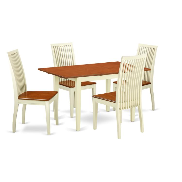 East West Furniture NOIP5-BMK-W 5-Piece Dinette set - Kitchen dinette table and 4 kitchen chairs in Linen White finish