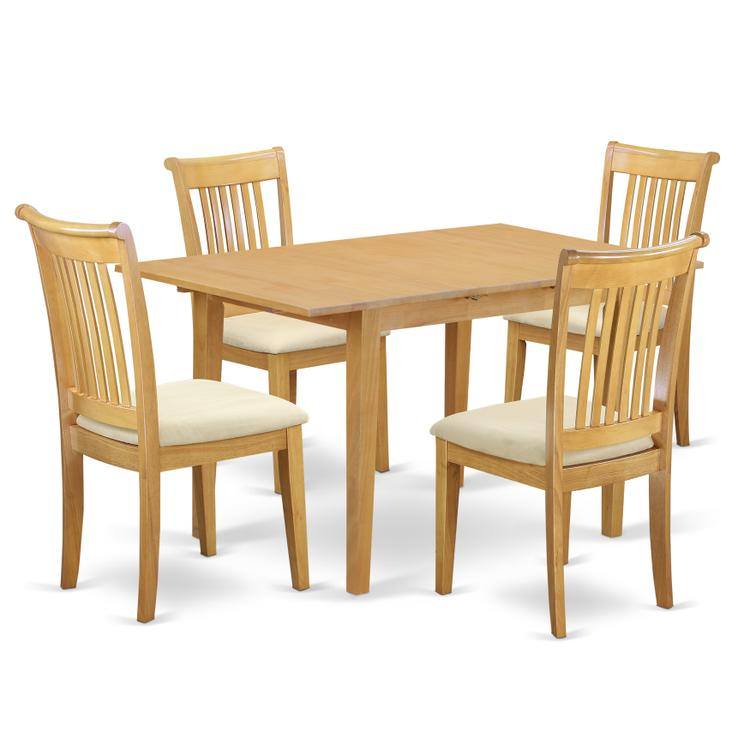 East West Furniture NOPO5-OAK-C 5-Piece Dinette table set - Table and 4 cushion seat dining chairs in Oak finish