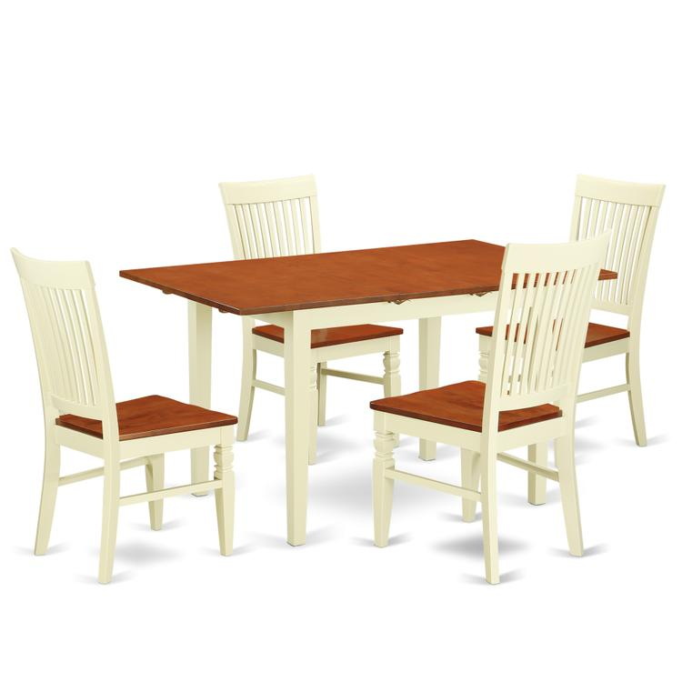 East West Furniture NOWE5-BMK-W 5 Pc Kitchen table set with a Dining Table and 4 Chairs in Buttermilk and Cherry