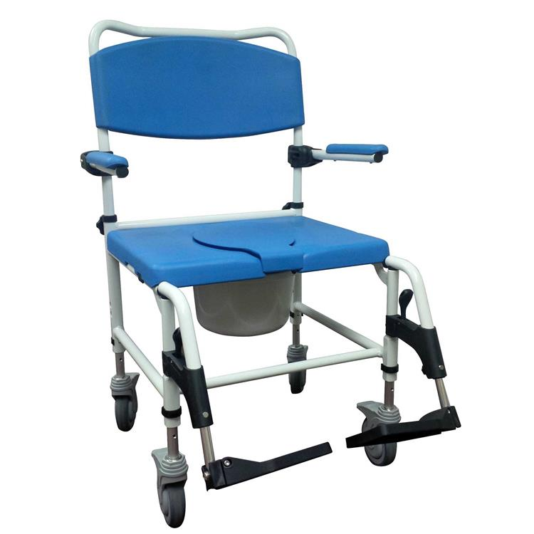 Drive Medical Aluminum Bariatric Rehab Shower Commode Chair with Two Rear-Locking Casters [Item # nrs185008]