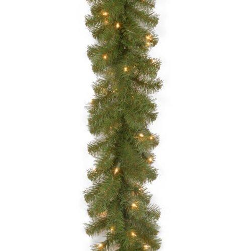 National Tree North Valley Spruce Garland with Clear Lights