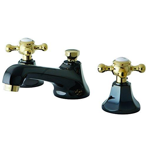 NS4469BX Water Onyx widespread lavatory faucet with brass pop-up drain, black nickel finish with polished brass trim