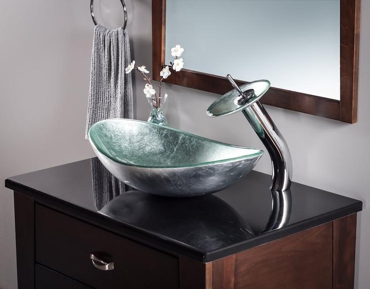 Novatto Argento Oval Glass Vessel Bathroom Sink Set, Chrome