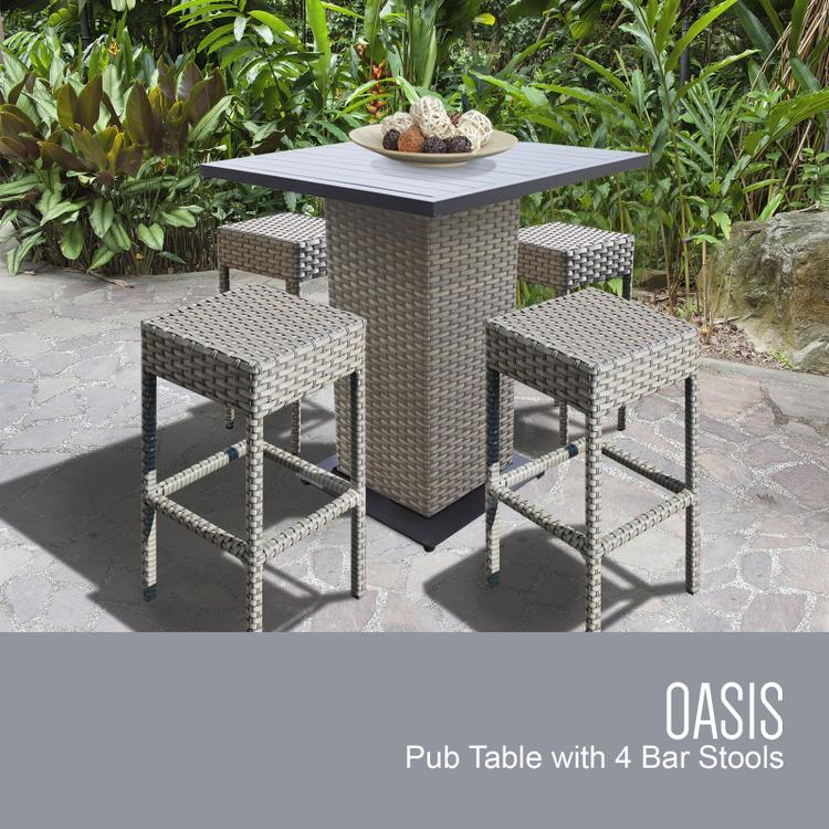 TK Classics Oasis Pub Table Set With Backless Barstools 5 Piece Outdoor Wicker Patio Furniture [Item # OASIS-PUB-BACKLESS-4A]