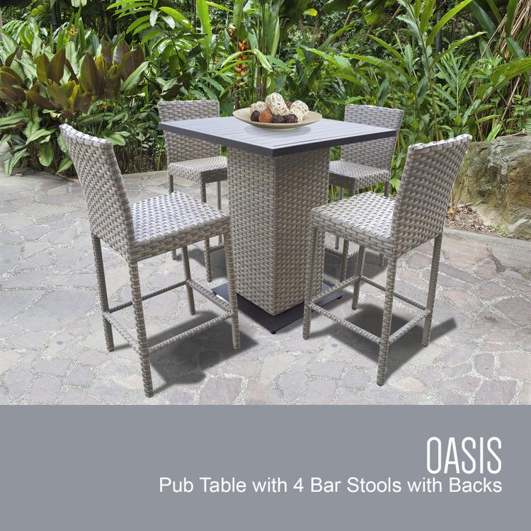 TK Classics Oasis Pub Table Set with Barstools 5 Piece Outdoor Wicker Patio Furniture