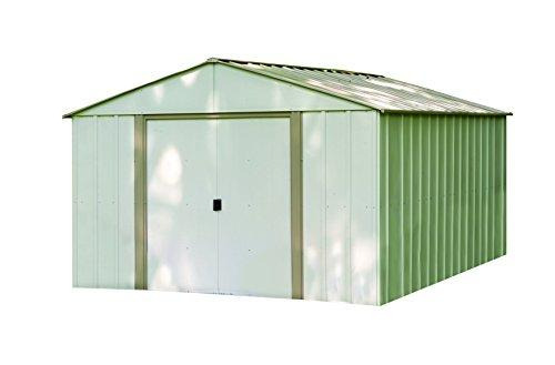 Arrow Sheds Oakbrook, 10x14, Electro Galvanized Steel, Emery Grey / Eggshell, High Gable, 62