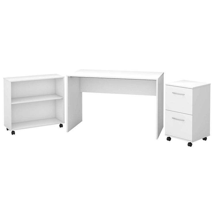 Bush Furniture Office Complete Small Desk with Mobile File Cabinet and Bookcase in Pure White