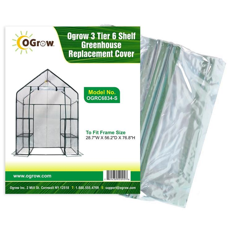 3 Tier 6 Shelf Greenhouse Replacement Cover - To Fit Frame Size  28.7