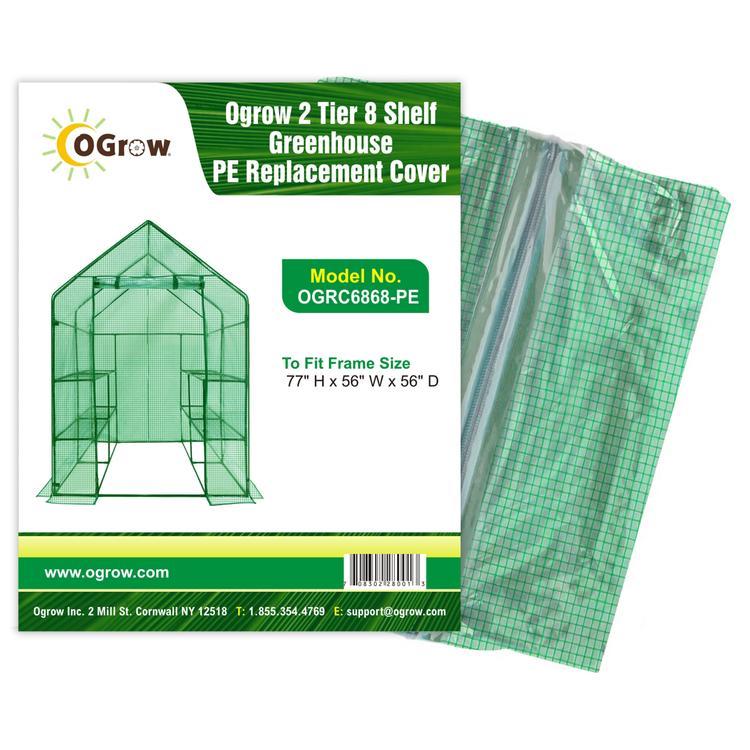 oGrow 2 Tier 8 Shelf Greenhouse PE Replacement Cover