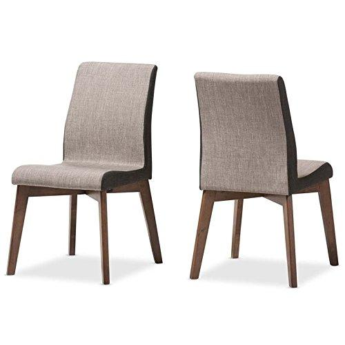Baxton Studio Kimberly Mid-Century Modern Beige and Brown Fabric Dining Chair