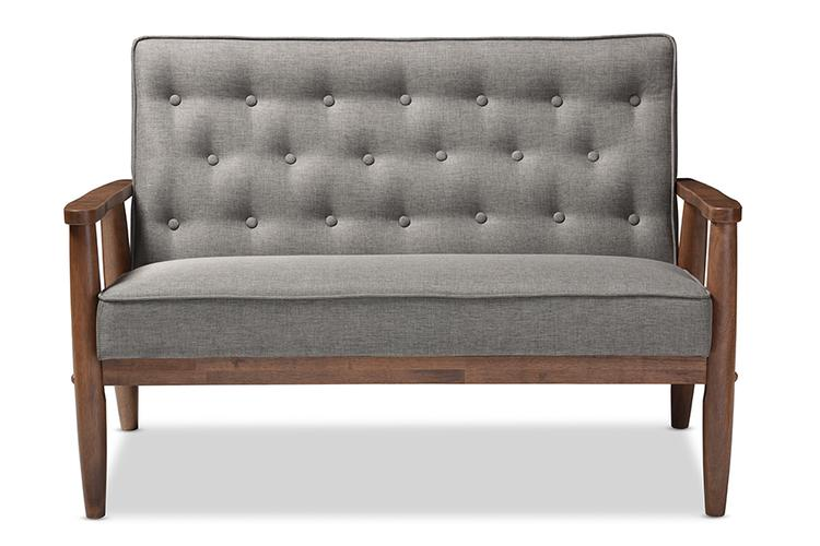 Baxton Studio Sorrento Retro Modern 2-Seater Loveseat
