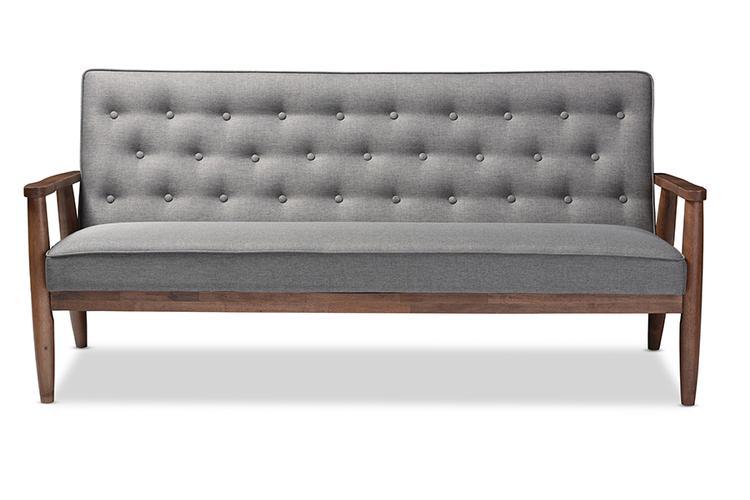 Sorrento Mid-Century Retro Modern Upholstered Wooden 3-Seater Sofa