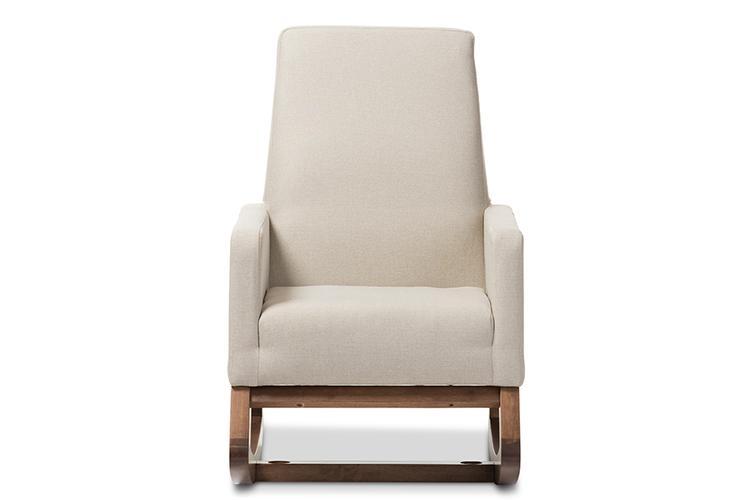 Baxton Studio Yashiya Mid-Century Retro Modern Upholstered Rocking Chair