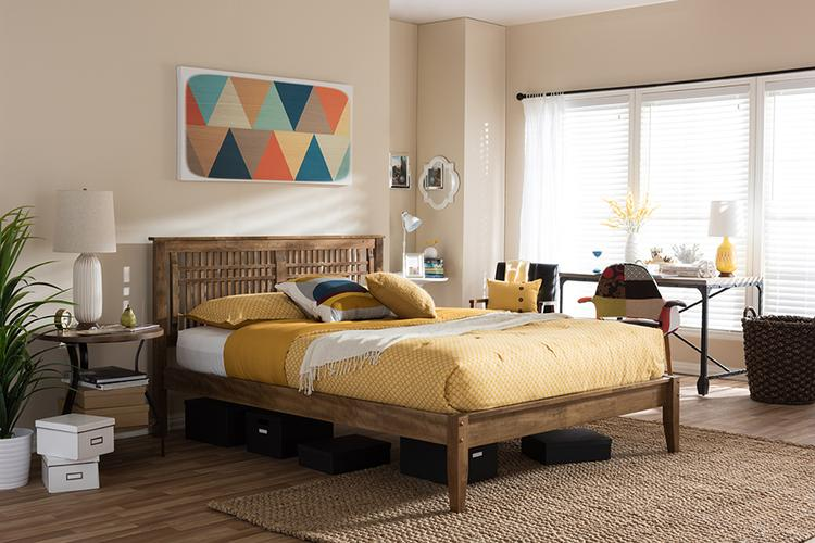 Baxton Studio Loafey Mid-Century Modern Solid Wood Window-Pane Style Platform Bed