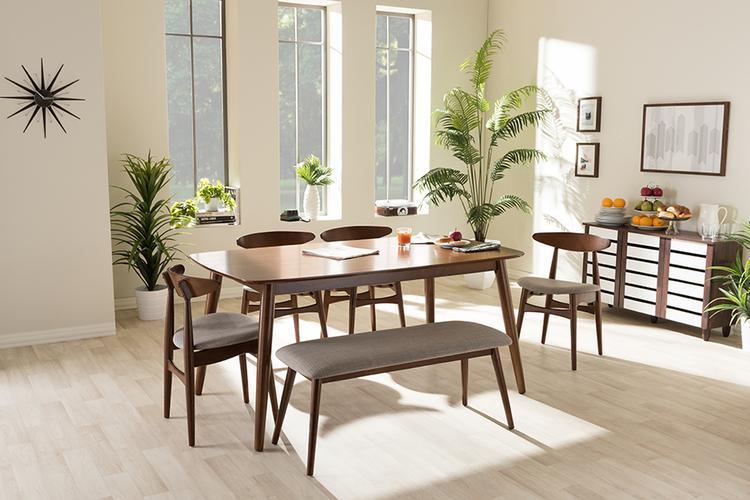 Baxton Studio Flora Mid-Century Wood Dining Set