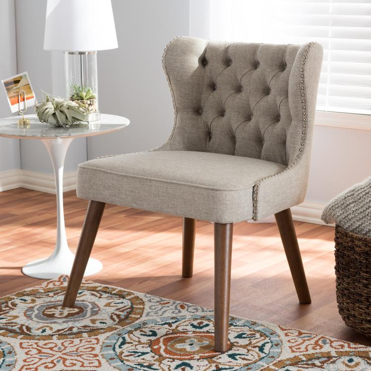 Baxton Studio Scarlett Mid-Century Modern Upholstered Button-Tufting With Nail Heads Trim 1-Seater Accent Chair