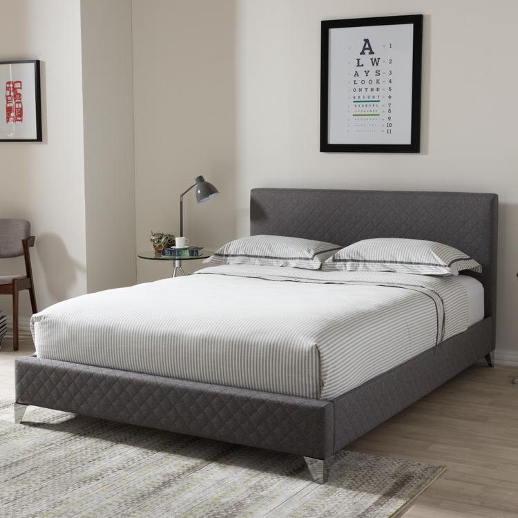 Baxton Studio Harlow Modern And Contemporary Upholstered Platform Bed [Item # OJC-7113]