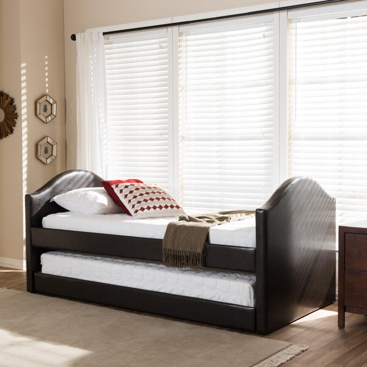 Wondrous Baxton Studio Alessia Upholstered Daybed With Guest Trundle Bed Dark Brown Ocoug Best Dining Table And Chair Ideas Images Ocougorg