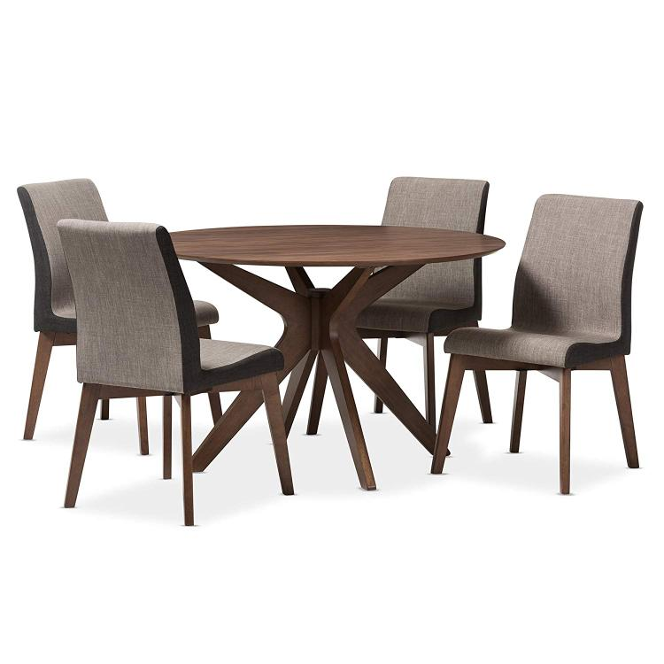 Baxton Studio Kimberly Mid-Century Modern Walnut Wood Round 5-Piece Dining Set