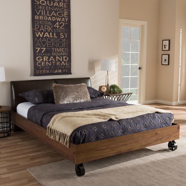 Baxton Studio Brooke Rustic Industrial Walnut Wood Distressed Faux Leather Dark Bronze Metal King Size Platform Bed