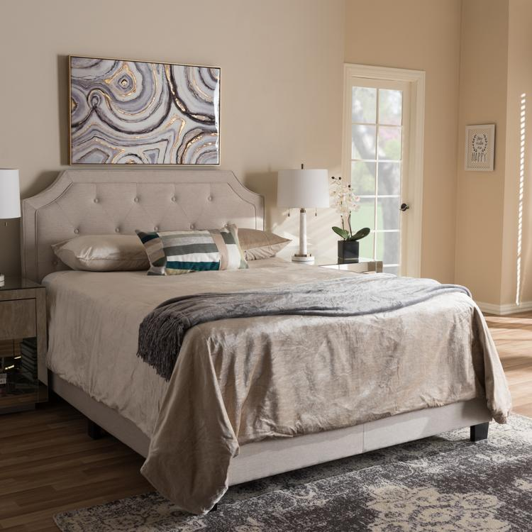 Baxton Studio Willis Modern and Contemporary Light Beige Fabric Upholstered King Size Bed
