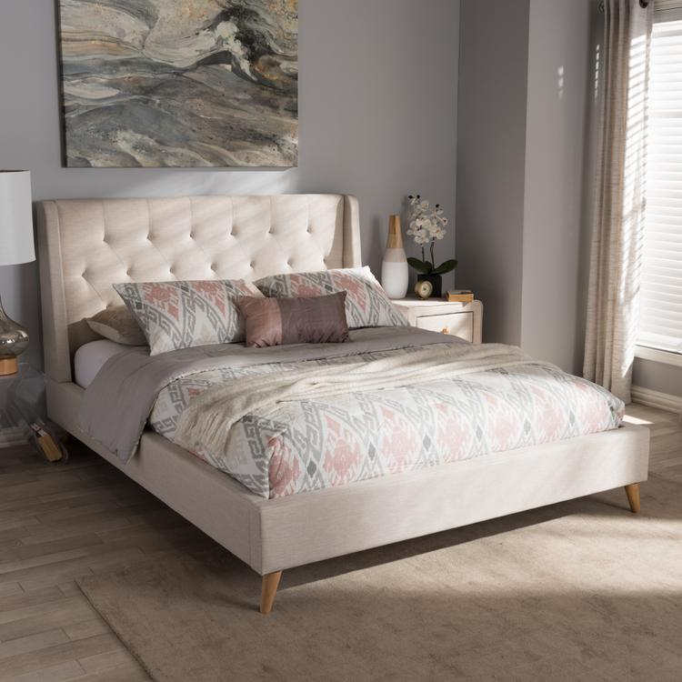 Baxton Studio Adelaide Retro Modern Light Beige Fabric Upholstered Queen Size Platform Bed [Item # OJC-7473]