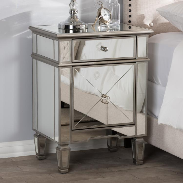 Baxton Studio Claudia Hollywood Regency Glamour Style Mirrored Nightstand [Item # OJC-7482]