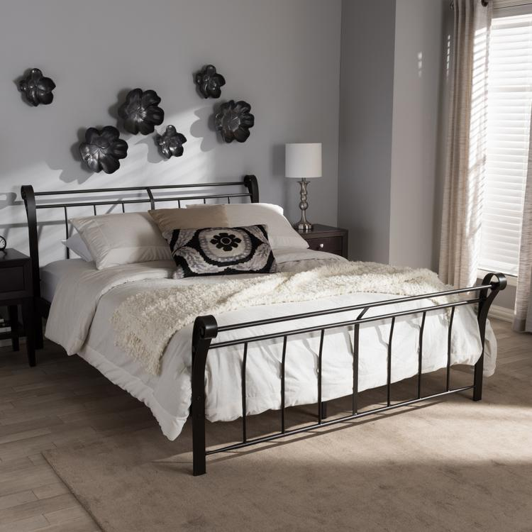 Baxton Studio Sienna Vintage Industrial Black Finished Metal Full Size Platform Bed
