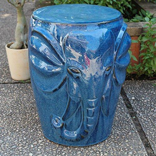 International Caravan Wild Elephant Drum Ceramic Garden Stool [Item # OPG-064-NV]