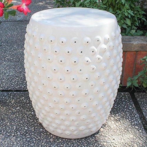 International Caravan Perforated Drum Ceramic Garden Stool [Item # OPG-070-AW]