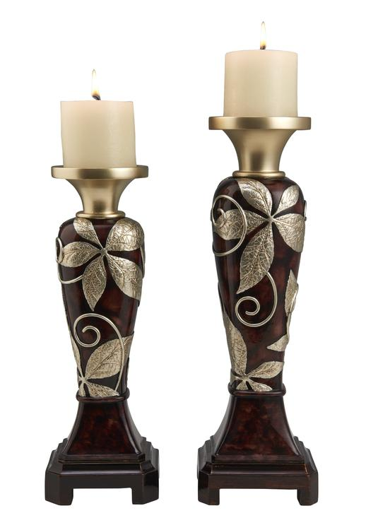 ORE 14-Inch & 16-Inch Tall Folius Floral Foliage Candleholder Set X 2