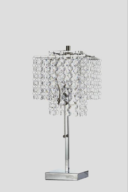 ORE 20.5-Inch Tall Glam Deco Silver 2 Tier Square Table Lamp