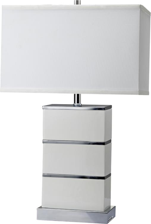 ORE 26.75-Inch Tall Quartz Stacked Block White Modern Table Lamp W/ Usb Port