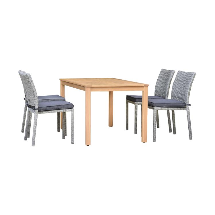 International Home Miami Amazonia Brooklyn 5 Piece Rectangular Eucalyptus Patio Dining set | Teak Finish and Grey Wicker Chairs | Durable and Ideal for Outdoors