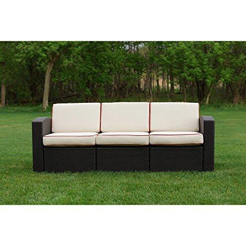Cielo Patio Sofa Brown With Ivory