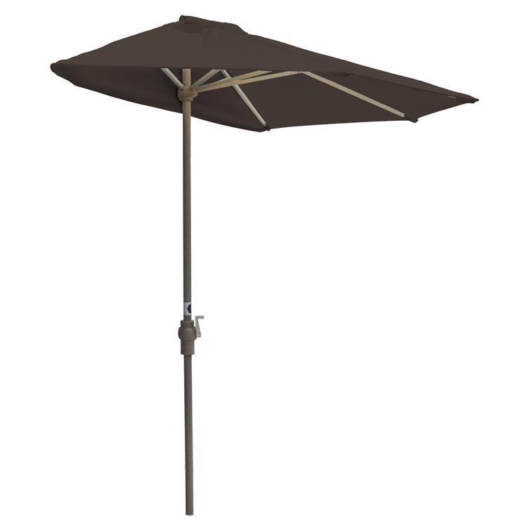 OFF-THE-WALL BRELLA Sunbrella Half Umbrella, 7.5'-Width, Chocolate Canopy [Item # OTWB-7SC]