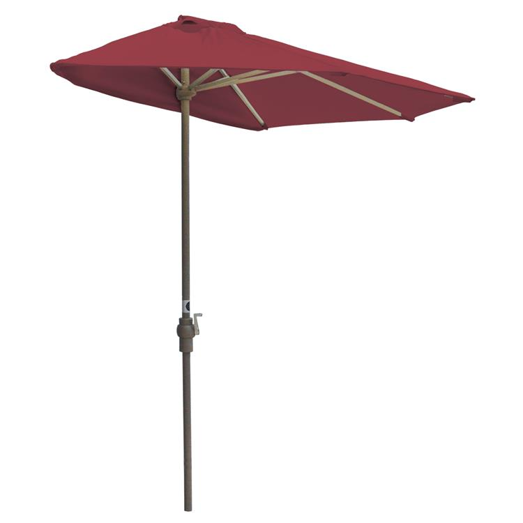 Blue Star OFF-THE-WALL BRELLA Sunbrella Half Umbrella, 7.5'-Width, Jockey Red Canopy [Item # OTWB-7SR]