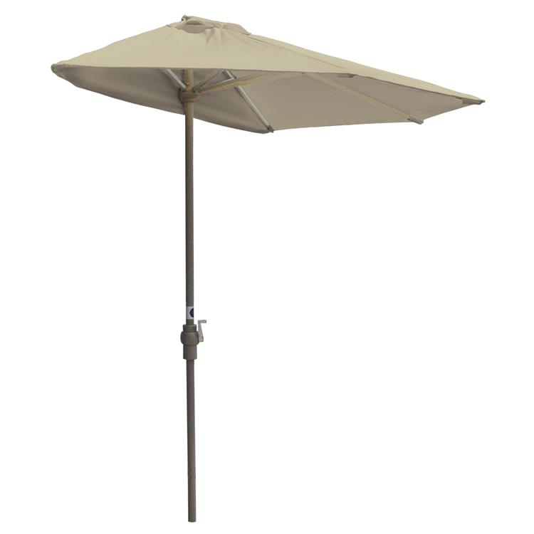 OFF-THE-WALL BRELLA Olefin Half Umbrella, 9'-Width, Antique Beige Canopy - [OTWB-9O-AB]