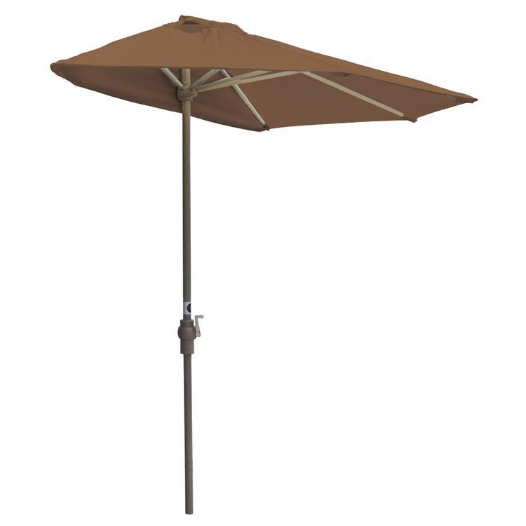 OFF-THE-WALL BRELLA Sunbrella Half Umbrella, 9'-Width, Teak Canopy [Item # OTWB-9S-TK]