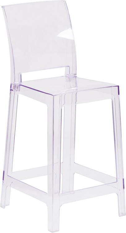 Flash Furniture Ghost Counter Stool With Square Back