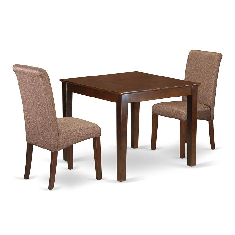 East West Furniture OXBA3-MAH-18 3Pc Square table with linen brown fabric Parson chairs with mahogany chair legs