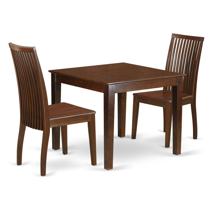 East West Furniture OXIP3-MAH-W 3-Piece Dinette table set - Table and 2 wood seat dining chairs in mahogany finish