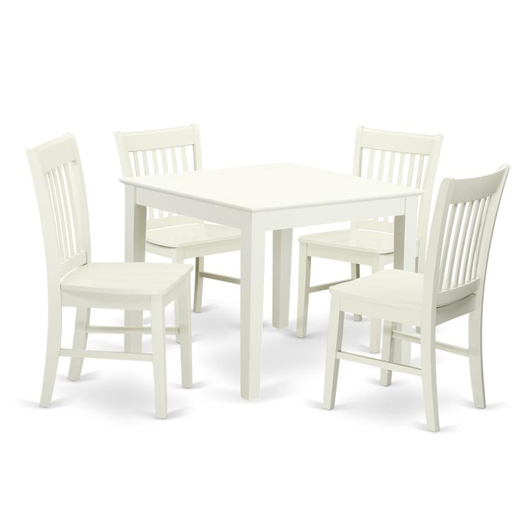 East West Furniture OXNO5-LWH-W 5-Piece Dinette table set - Table and 4 wood seat dining chairs in Linen White finish
