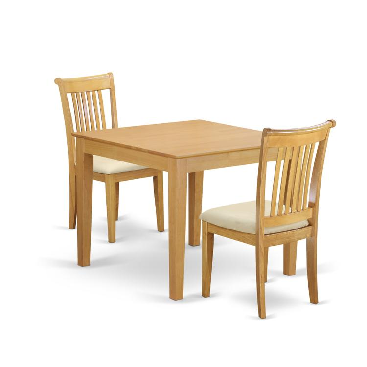 East West Furniture OXPO3-OAK-C 3-Piece Dinette table set - Table and 2 cushion seat dining chairs in Oak finish